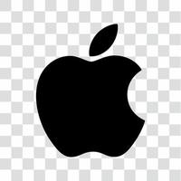 apple logo black isolated on transparent background vector