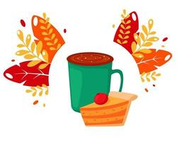 Coffee cup with pumpkin pie on autumn leaves background vector