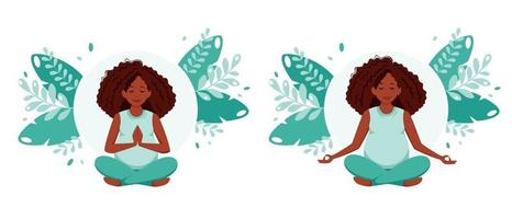 Pregnant african american woman meditating in lotus pose Pregnancy health concept vector