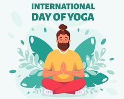 Man meditating in lotus pose International day of yoga vector