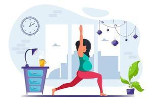 Pregnant woman doing yoga in loft interior Healthy pregnancy vector