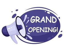 Grand opening reopening we are open banner Invitation posters with megaphone speaker vector
