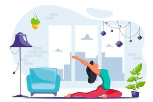 Woman doing yoga at home in modern interior vector