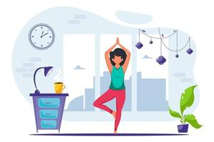 Woman doing yoga at home in cozy modern interior Healthy lifestyle yoga meditation vector