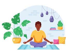 African american man meditating in lotus pose in cozy modern interior vector