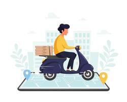 Pizza delivery service Courier character riding motorbike via smartphone with online tracking on city background vector