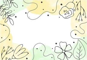 Minimal floral background with hand drawn simple outline flowers and leaves Abstract romantical banner template Congratulations  vector concept