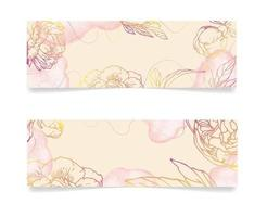 Minimal floral background with hand drawn tropical flowers and leaves Abstract romantical banner template Congratulations  modern vector concept