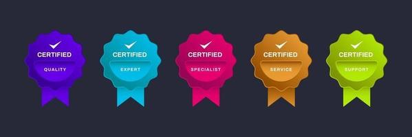 Logo badge for certification Digital certified logo verified achievements company or corporate with ribbon design Vector illustration