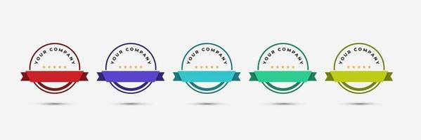 certified badge logo design template vector illustration with ribbon rounded line