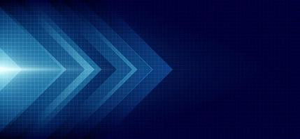 Abstract blue arrow glowing with lighting and line grid on blue background technology hitech concept vector