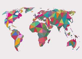 Abstract geometric colorful earth map concept vector