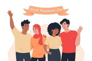 World Population Day people of different nationalities hug each other vector