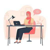 Happy female worker sitting at table in office productivity during the day vector