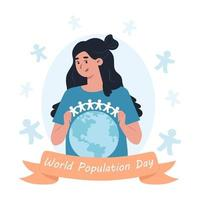 A woman holds a garland of paper men over the planet Earth World Population Day vector