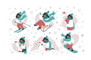 Winter characters collection winter activities vector
