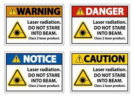 Laser radiation do not stare into beam class 2 laser product Sign vector