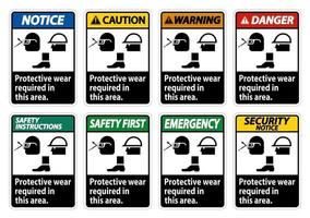 Protective Wear Is Required In This Area With Goggles Hard Hat And Boots Symbols on white background vector