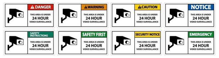 This Area Is Under 24 hour Video Surveillance Symbol Sign vector