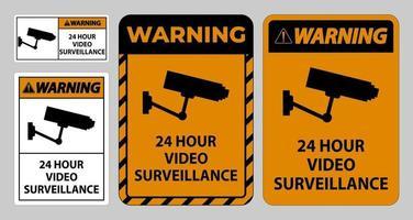 Warning Sign CCTV 24 Hour Video Surveillance vector
