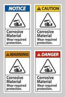 materiales corrosivos usan la protección requerida vector