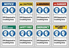 Sign PPE Required In Crushing Area Isolate on White Background vector