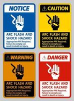 Arc Flash And Shock Hazard Appropriate PPE Required vector
