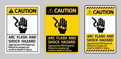 Caution Sign Arc Flash And Shock Hazard Appropriate PPE Required vector