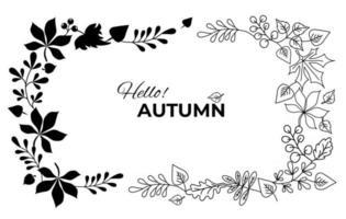Horizontal frame vignette of Autumn leaves vector