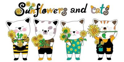 Sunflower and cats doodles style clip art design green yellow and black color vector