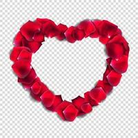 Abstract Natural Rose Petals Heart Realistic Vector Illustration
