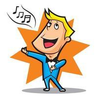 Cantante masculino con pajarita y traje azul cantando vector