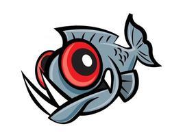 pez piraña de dibujos animados con grandes ojos rojos y dientes afilados vector