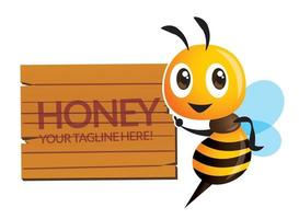 Cartoon cute bee pointing to wooden signboard with custom lettering vector