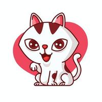 Cartoon cute adorable white female cat paw up with smile on love shape background vector mascot