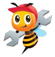 Cute worker bee with red safety helmet carrying big hardware spanner vector