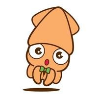 Cartoon cute big eyes squid with green bowtie vector