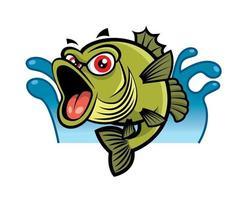 dibujos animados de grandes ojos rojos pez bajo en salpicaduras de agua vector