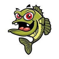 Cartoon Cute big red eyes bass fish character vector
