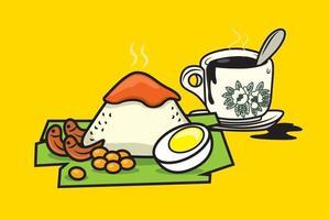 Nasi Lemak with Nanyang black coffee for breakfast set vector