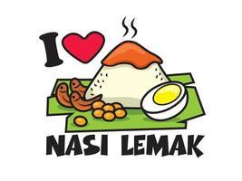 Traditional malay food Nasi Lemak basic set vector