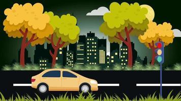 o carro amarelo está vagando à meia-noite na cidade video