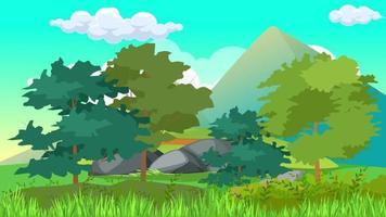 día ventoso en la llanura verde y árboles altos video