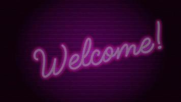 Welcome Neon Text Light On The Wall video