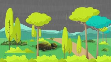 noche lluviosa en la llanura verde en verano video