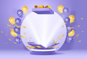 3d giveaway podium with balloon confetti gift box vector
