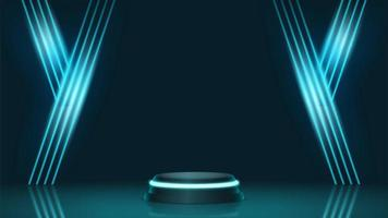 3d Futuristic podium for technology product display vector