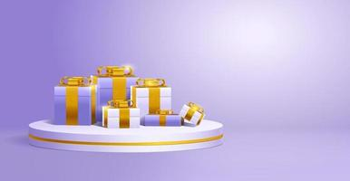 Minimal podium with gift boxes and golden ribon vector