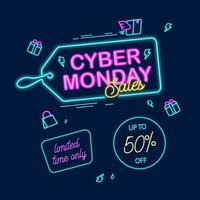 Cyber monday banner neon lamp concept with hang tag shopping bag and package icon vector