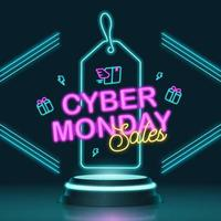 Cyber monday sales banner with futuristic podium and neon lamp concept vector